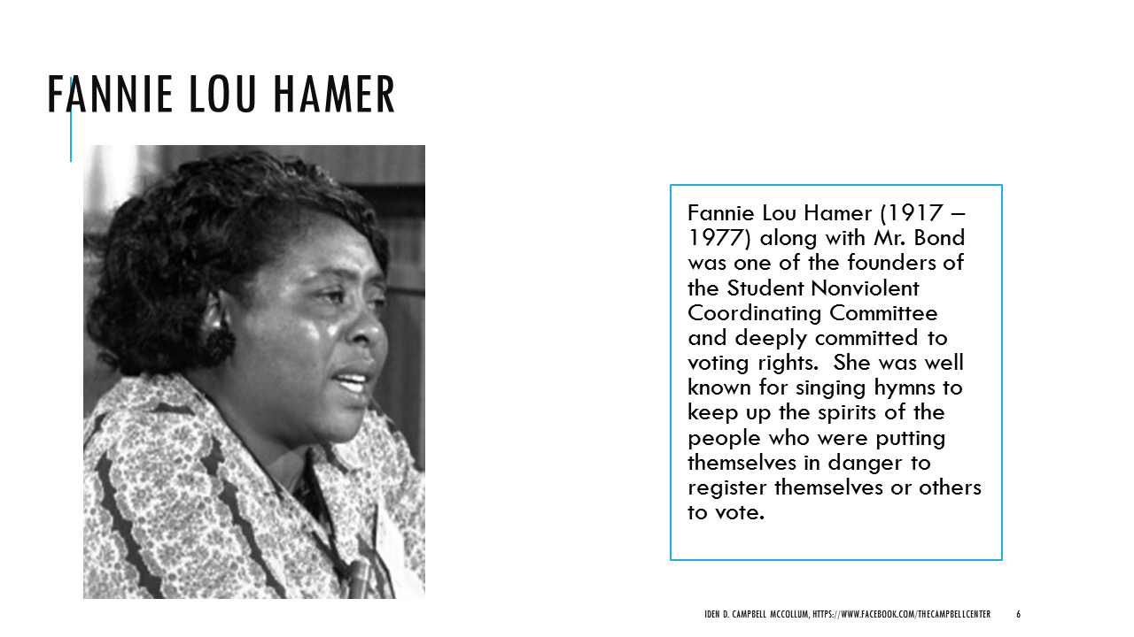 fannie lou hammer Find out more about the history of fannie lou hamer, including videos, interesting articles, pictures, historical features and more get all the facts on historycom.