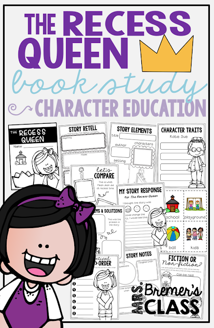 The Recess Queen book study companion activities perfect for back to school! Use for whole class guided reading, small groups, or individual study packs. Packed with lots of fun literacy ideas and guided reading activities. Common Core aligned. K-2 #bookstudies #bookstudy #picturebookactivities #1stgrade #2ndgrade #kindergarten #literacy #guidedreading #backtoschool