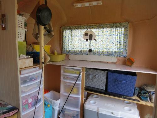 interior of a partially finished fiberglass trailer