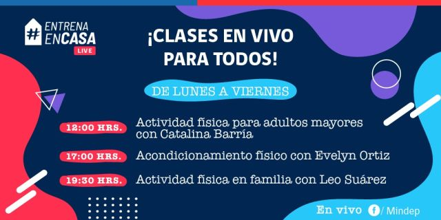 """Campaña """"Entrena en Casa"""" del MINDEP agrega clases en vivo"""