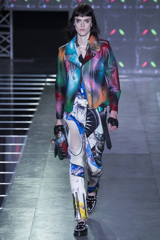 2016 SS Louis Vuitton Muticolored Biker Jacket on Runway