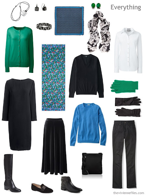 a travel capsule wardrobe in black, white, green and blue