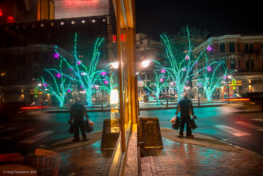 Portland, Maine USA December 2016 photo by Corey Templeton. A reflection of the lights in Longfellow Square in the windows of LFK (a bar/restaurant).