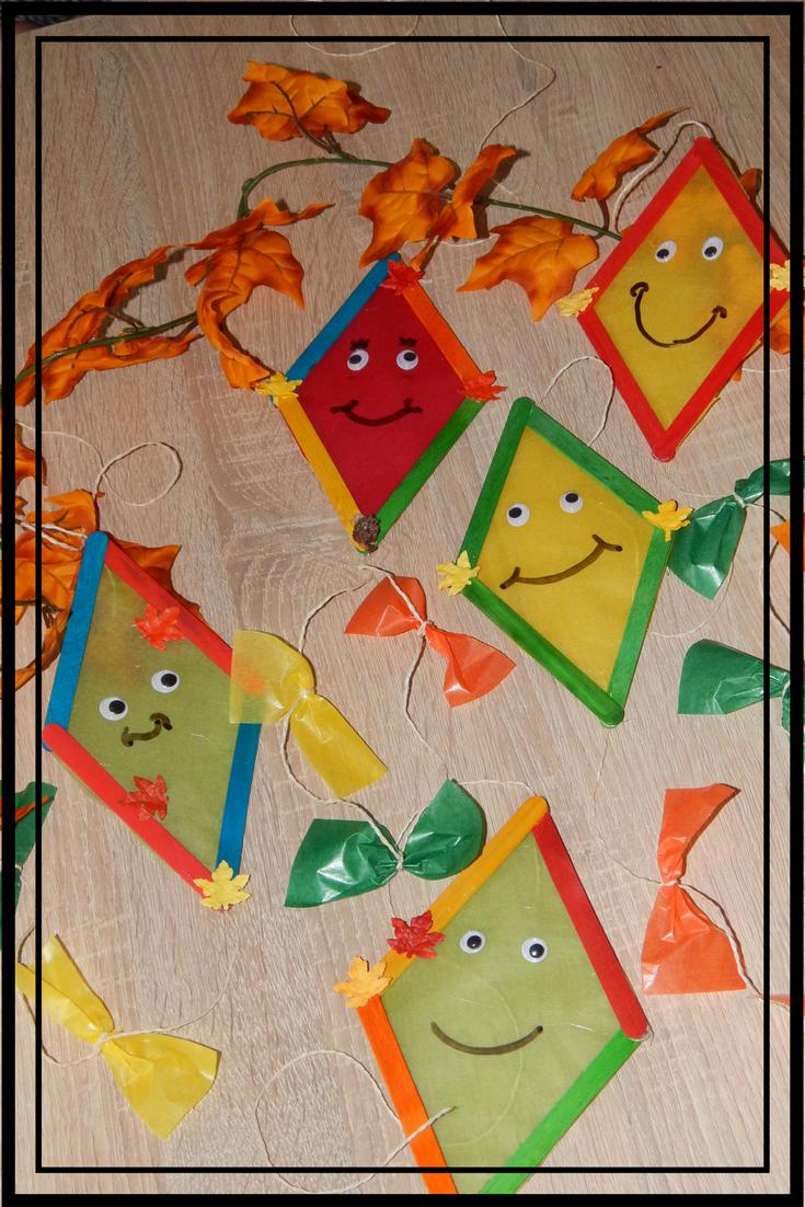 Familie Und Mehr Bastelzeit Herbstliche Drachen Aus Eisstielen