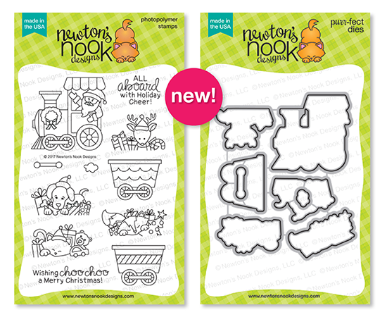 Holiday Reveals - Day 1 - All Aboard for Christmas | 4x6 Stamp set with Santa Train by Newton's Nook Designs #newtonsnook