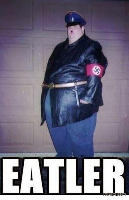 Funny Fat Hitler Eatler Nazi Uniform Man Meme Joke Picture