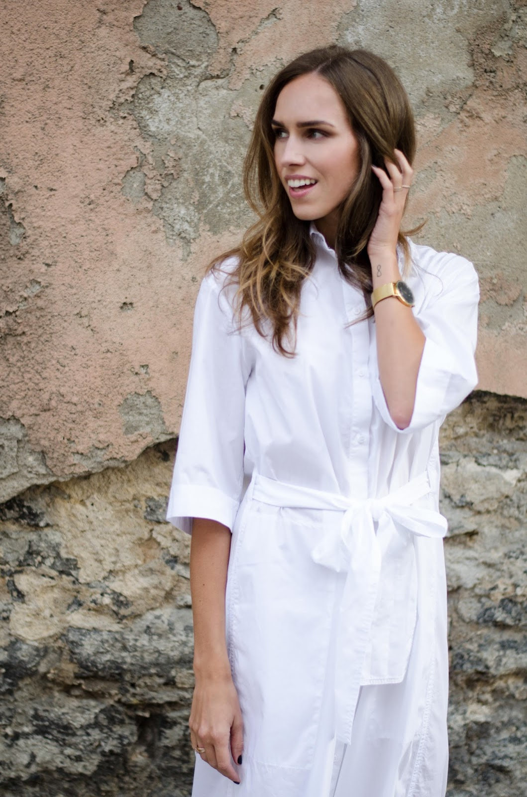 kristjaana mere white oversized shirt dress with belt