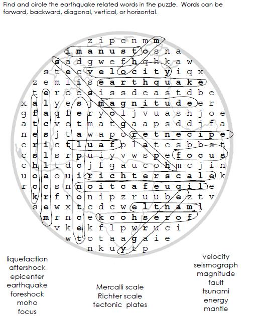 SAINS UPSR: Earthquake Word Search Puzzle