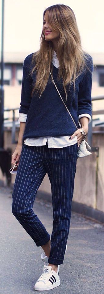 casual outfit inspiration / sneakers + striped pants + shirt + pullover