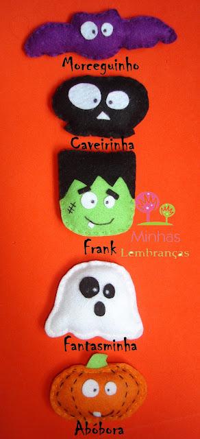 halloween-feltro-lembrancinhas-festa-brindes-morcego-caveira-fantasma-frank-abóbora