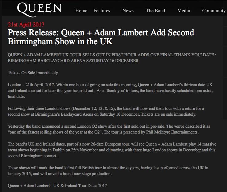 Press release queen adam lambert uk tour sells out in first hour press release queenwillrock adamlambert add 2nd birmingham date to uk tour on sat 16th december httpstt3x1bfrr9t thecheapjerseys Gallery
