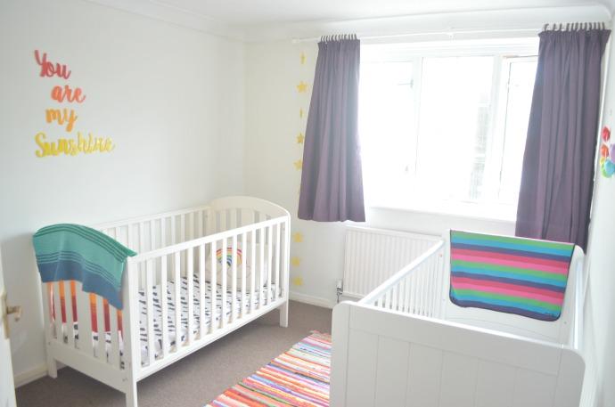 The adventure of parenthood a rainbow bedroom for Rainbow themed baby nursery