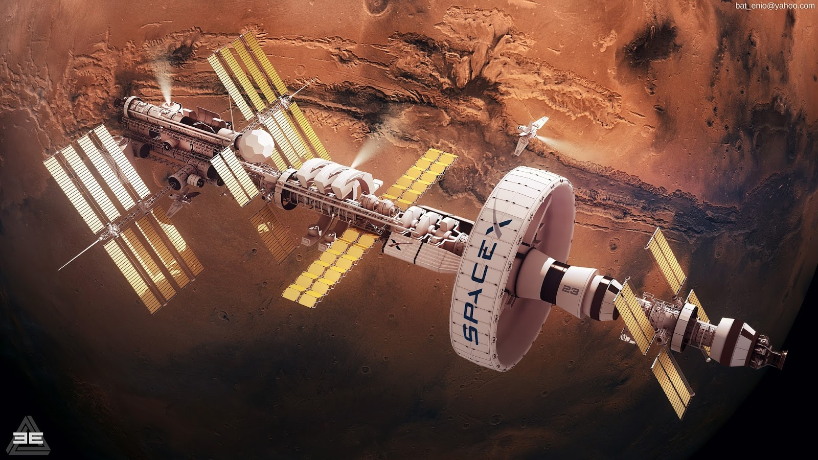 Concept art for SpaceX Mars orbital station by Encho Enchev