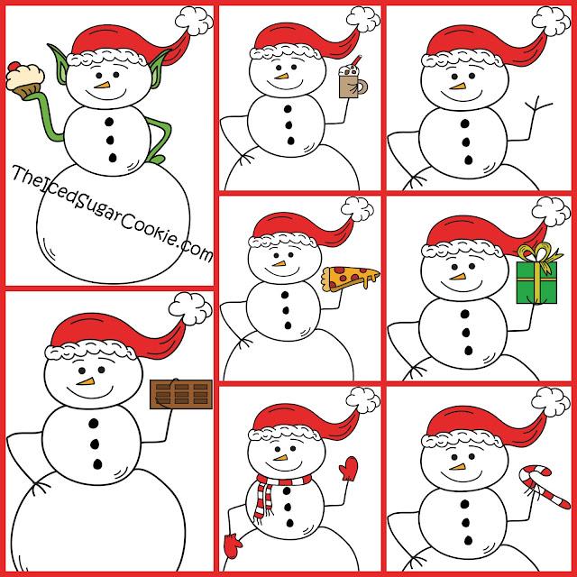 Elf Snowman Holding Cupcake  Snowman Drinking Hot Chocolate  Snowman Waving Snowman Eating Pizza Snowman Holding Chocolate Bar Snowman Wearing Mittens and Scarf Snowman Waving Snowman Holding A Candy Cane