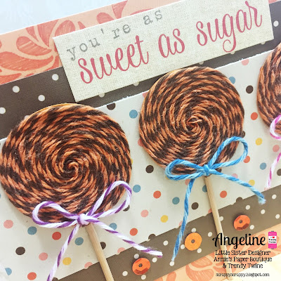 Trendy Twine: Sweet as Sugar #trendytwine #twine #lollipop #card #scrappyscrappy