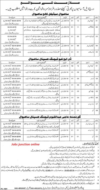Sahiwal Medical College and DHQ Teaching Hospital Jobs 2019