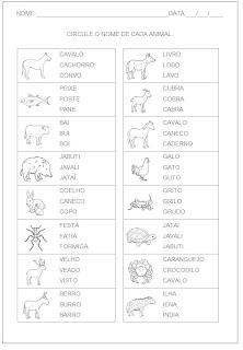 Hipótese de Escrita Silábica Alfabética - Circule o nome da figura 2