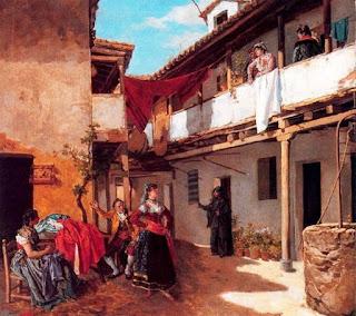 Recreación colorida deque parte del patio con su balconada, mujeres hablando vestidas al estilo goyesco y ropa tendida.