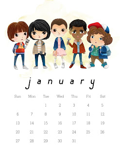 Calendario 2019 de Stranger Things para Imprimir Gratis.