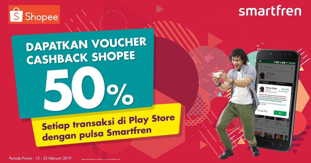 #Smartfen - #Promo Voucher Cashback Shopee 50% Transaksi PlayStore Pakai Pulsa (s.d 22 Feb 2019)