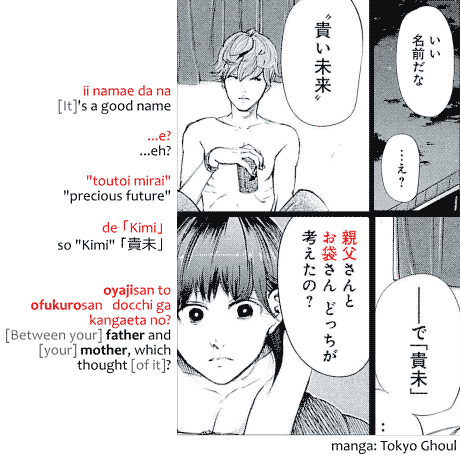 Example of usage of oyajisan and ofukurosan from the manga Tokyo Ghoul