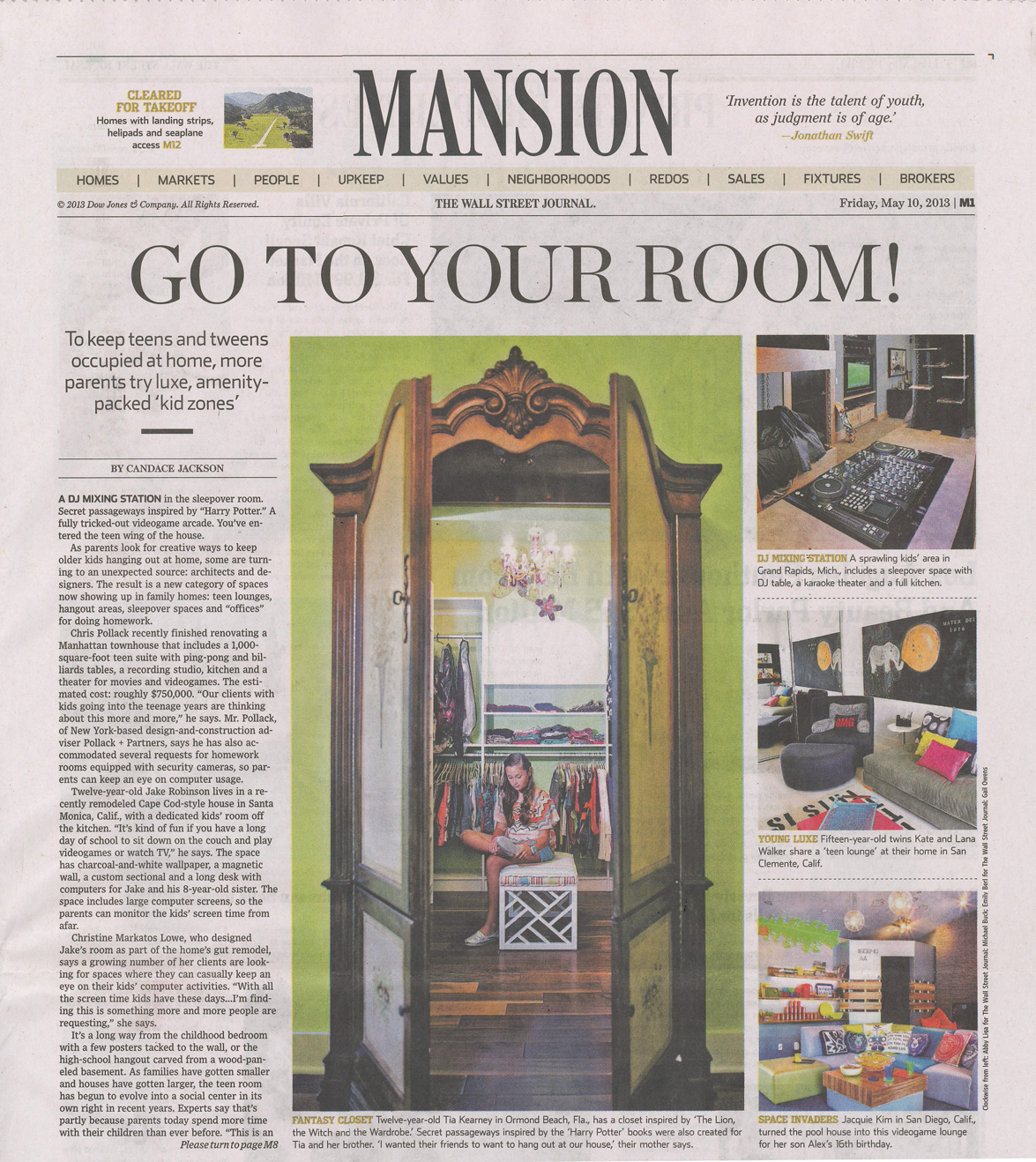 Visbeen Architects: The Wall Street Journal: Go To Your Room!