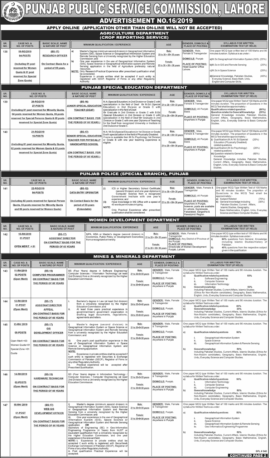 PPSC Advertisement 16/2019 Page No. 1/3