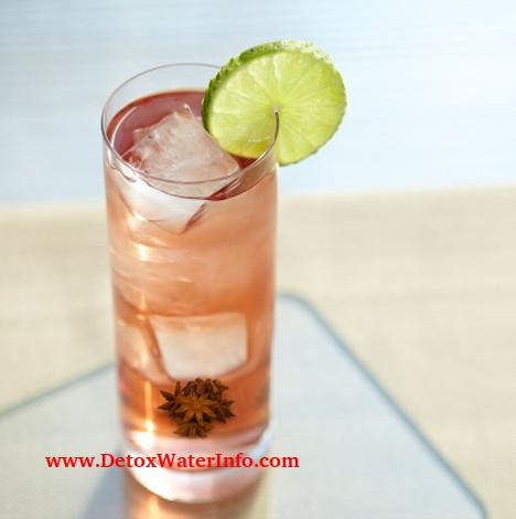 Cranberry star anise infused lime water