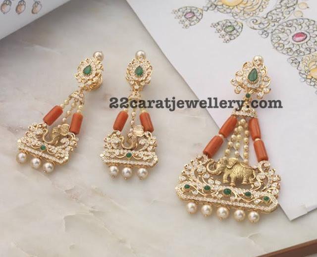Elephant Design Coral Beads Pendant