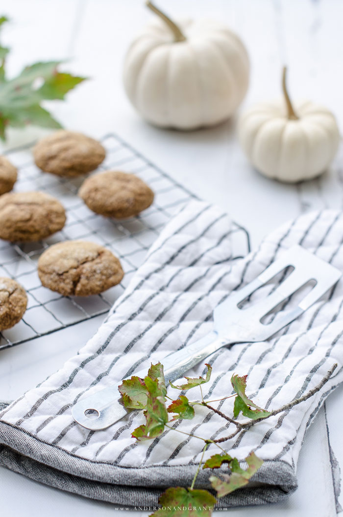 A quick and easy recipe for a delicious fall cookie - Pumpkin Ginger Molasses Cookies  |  www.andersonandgrant.com