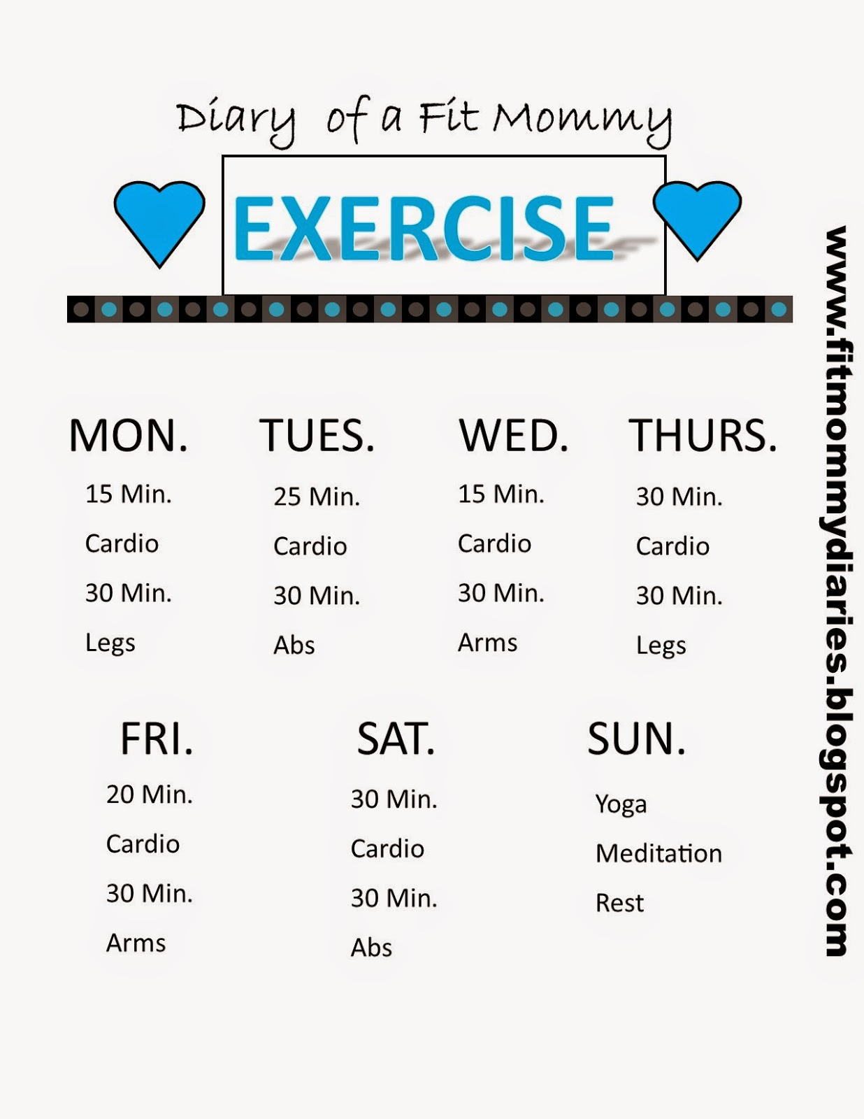 Diary Of A Fit Mommy Your New Weekly Workout You Pick