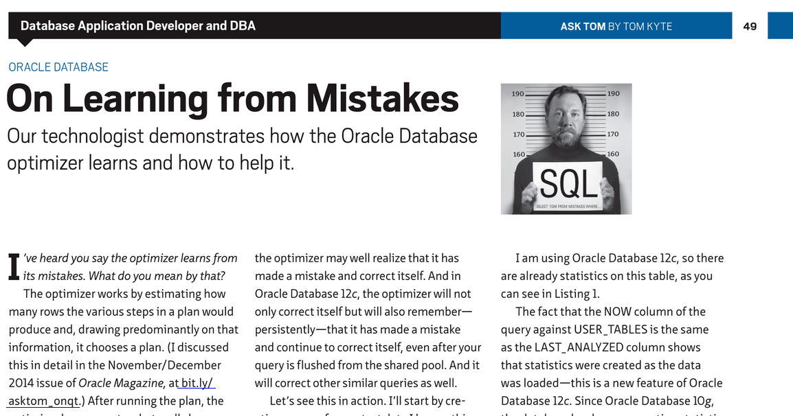 Oracle Database 12c: Statistics created as the data was loaded