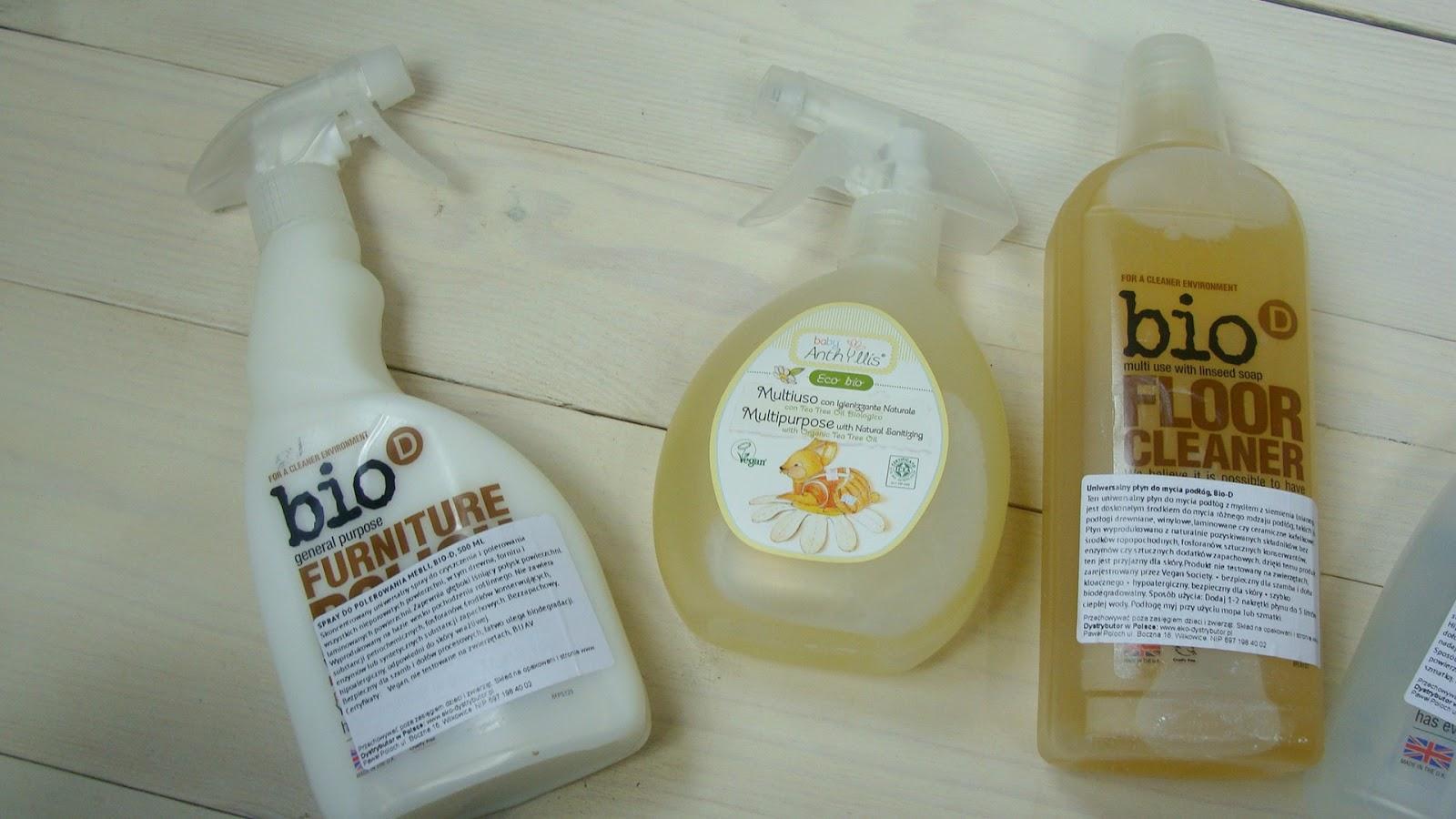 Ekologiczne środki czystości, Bio-D, płyn do podłóg, płyn do mebli, płyn do szyb