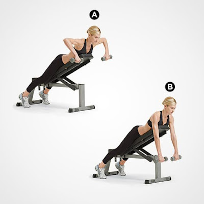 Best Back Workout For Women's- Lying Supported Elbow's Out Dumbbell Row