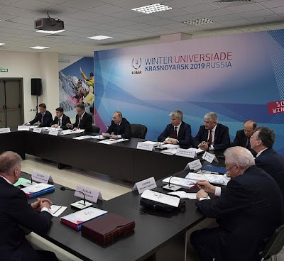 Vladimir Putin at a meeting on preparations for the 2019 World Winter Universiade.