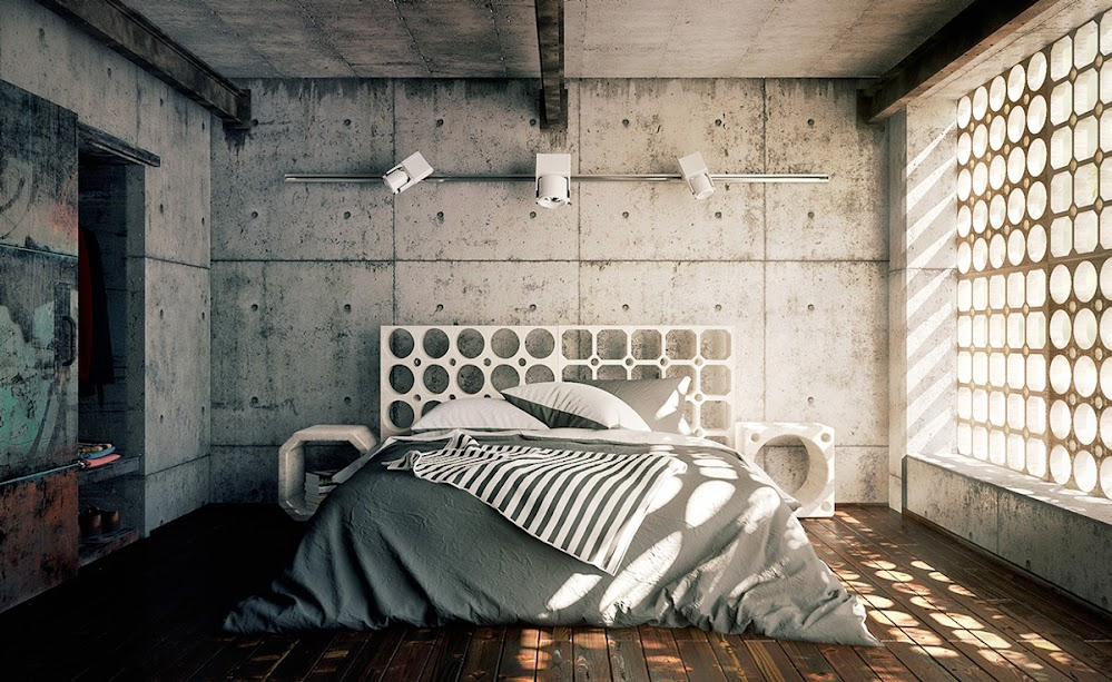 cement-wall-perforated-headboard-modern-industrial-bedroom