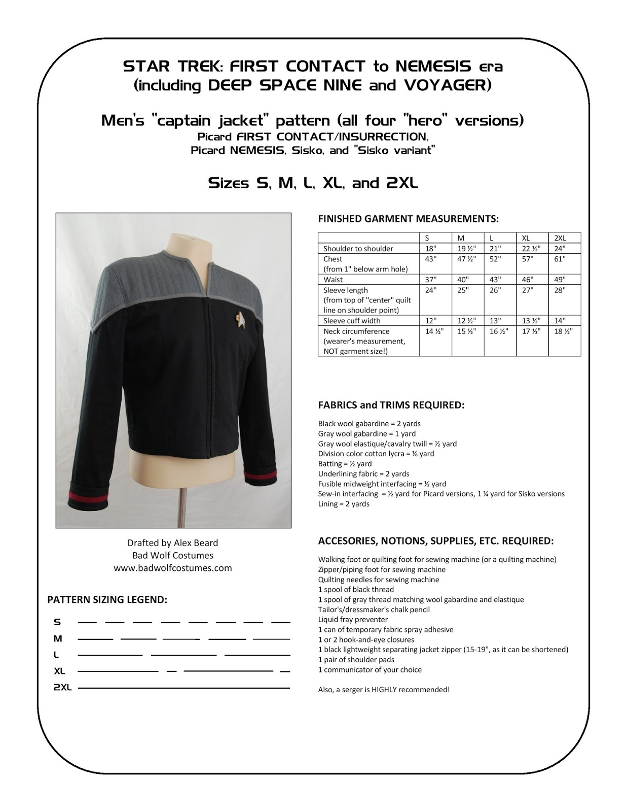 This is a sewing pattern for the menu0027s  captain jacket  which was first introduced in Star Trek First Contact seen in several variations throughout the ...  sc 1 st  Bad Wolf Costumes & Bad Wolf Costumes: Star Trek: DS9/NEM Captain Jacket Sewing Pattern