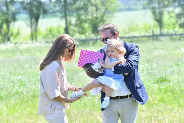 Princess Leonore, Princess Madeleine, Christopher O'Neill  is seen visiting the stables  in Gotland, Sweden. Duchess Leonore Livly Dress