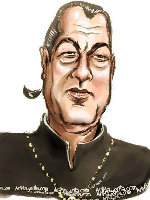 Steven Seagal caricature cartoon. Portrait drawing by caricaturist Artmagenta