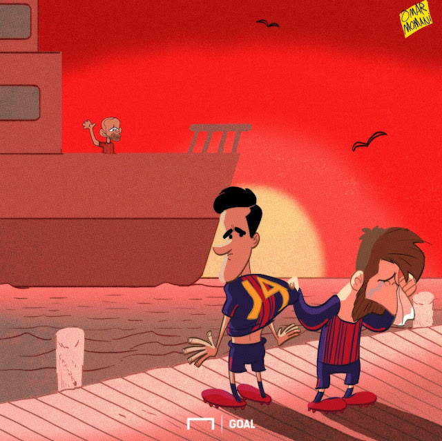 Javier Mascherano, Coutinho, Messi cartoon