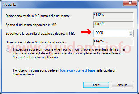 Windows Gestione disco finestra Riduci