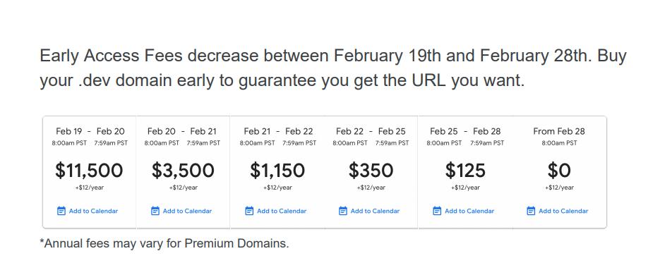 Google Domains mở bán tên miền .dev từ ngày 19 tháng 2