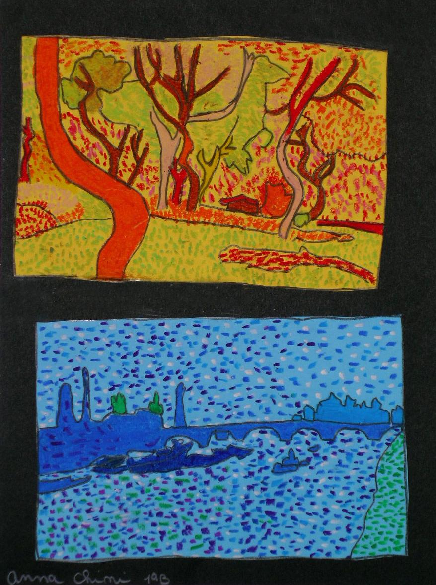 Arte in classe colori caldi e freddi paesaggi di andr for Disegni di paesaggi colorati