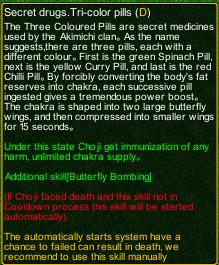 naruto castle defense 6.0 Choji Secret drugs.Tri-color pills detail