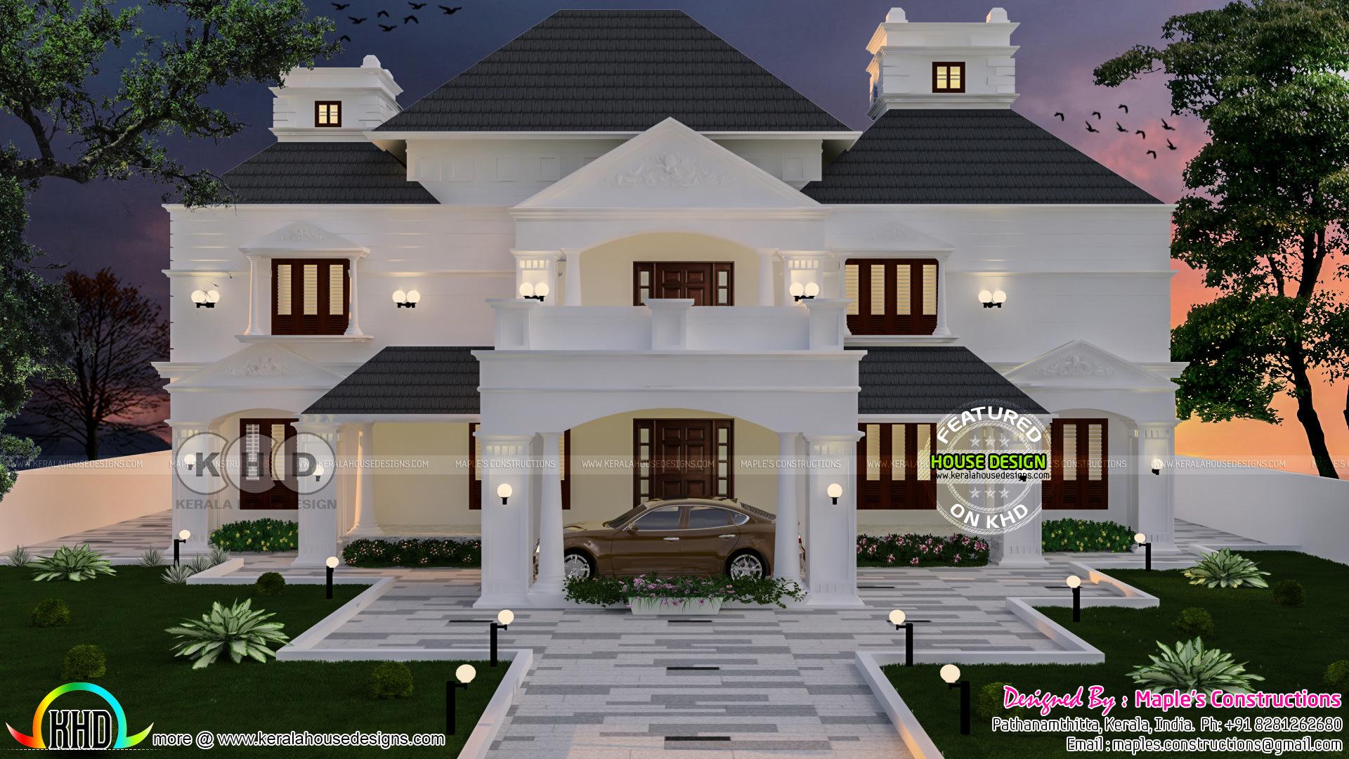 6 Bedroom Colonial Model House Plan 343 Sq M Kerala Home
