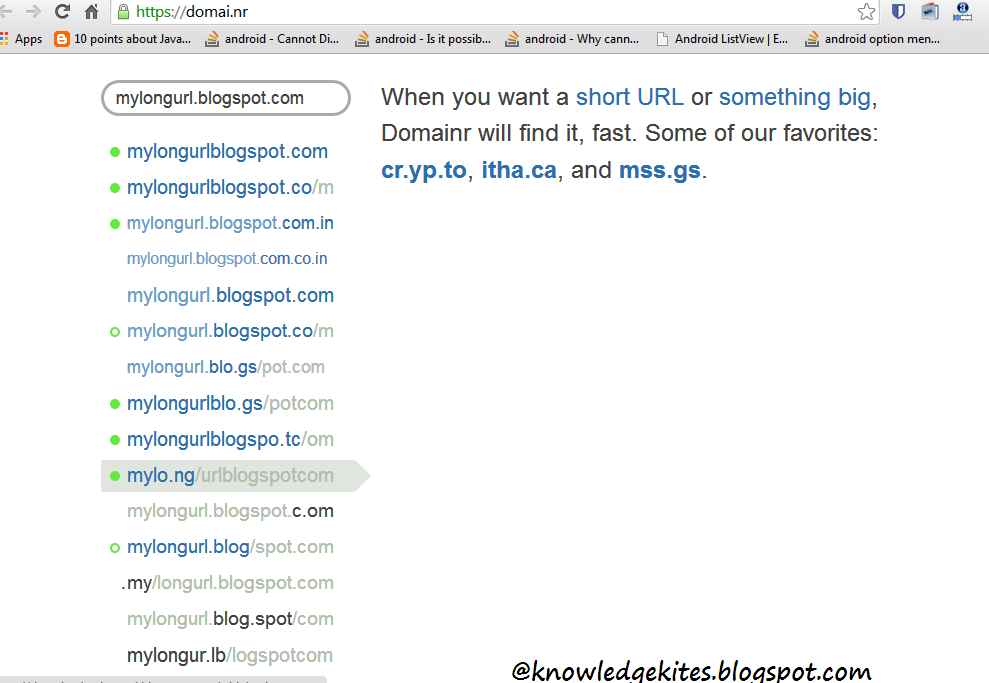 Convert long URL to short URL from Domainr