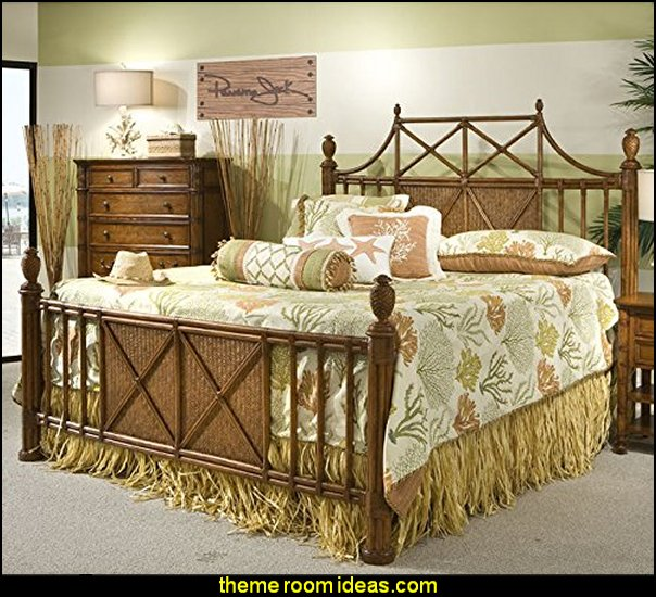 Panama Jack Island Breeze Bamboo and Woven Rattan Bed Frame with Reeded Bedposts