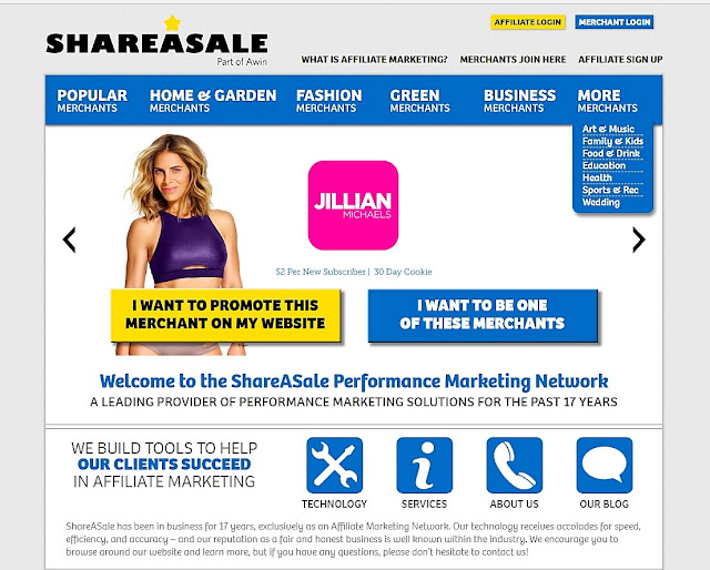 Shareasale landing page
