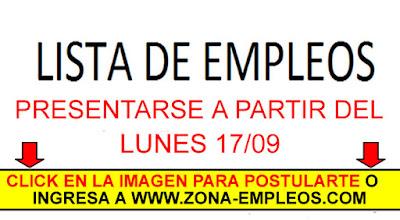 EMPLEOS PARA PRESENTARSE A PARTIR DEL 17/09