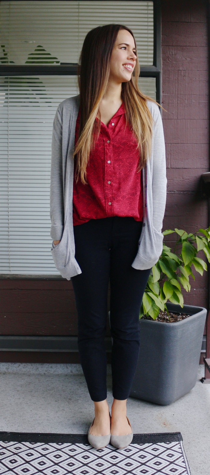 Jules in Flats - Red Blouse & Cardigan for Work